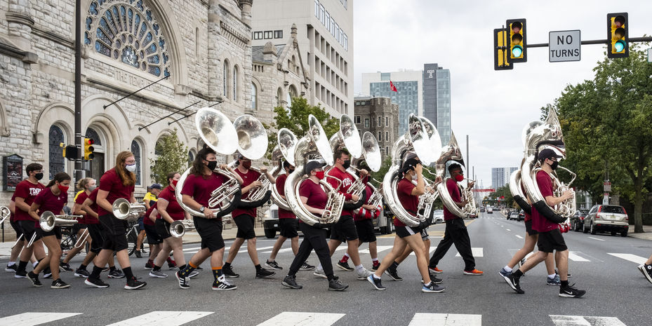Marching Band crossing broad street