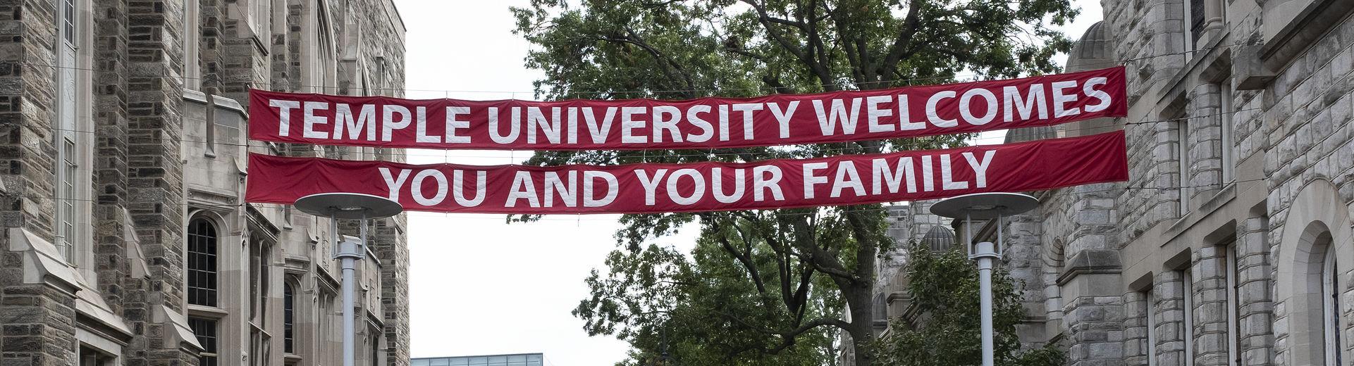 Welcome Banner on Polett Walk, Main Campus