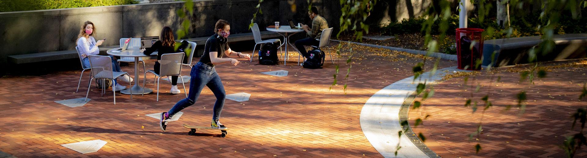 Students in Founders garden